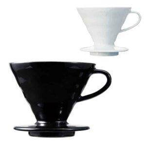 HARIO Coffee Dripper Ceramic V60 TIP-02 alb sau negru