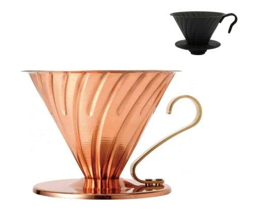 HARIO Coffee Dripper Metalic V60 TIP-02 Black negru sau cupru